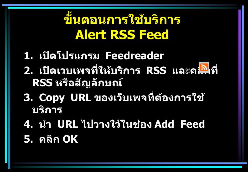 1. เปิดโปรแกรม Feedreader 2. เปิดเวบเพจที่ให้บริการ RSS และคลิกที่ RSS หรือสัญลักษณ์ 3.