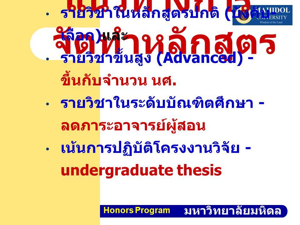 คณะวิทยาศาสตร์ มหาวิทยาลัยมหิดล Honors Program แนวทางการ จัดทำหลักสูตร รายวิชาในหลักสูตร รายวิชาในหลักสูตรปกติ ( บังคับ - เลือก ) และ รายวิชาขั้นสูง (Advanced) - ขึ้นกับจำนวน นศ.