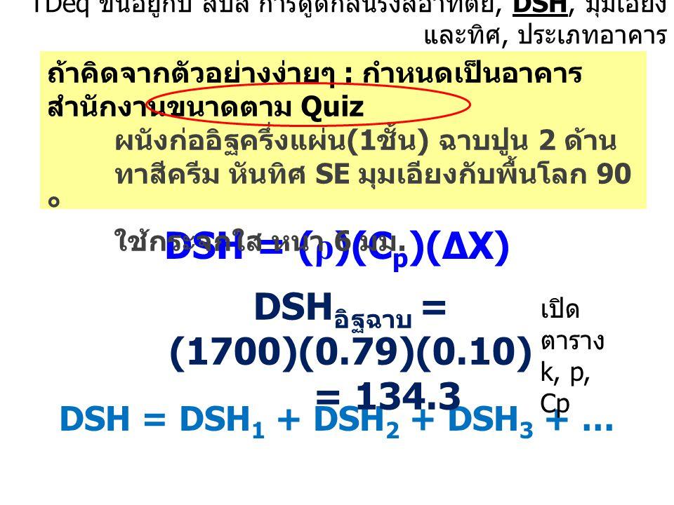 TDeq ขึ้นอยู่กับ สปส การดูดกลืนรังสีอาทิตย์, DSH, มุมเอียง และทิศ, ประเภทอาคาร DSH = ( ρ )(C p )(∆X) DSH = DSH 1 + DSH 2 + DSH 3 + … ถ้าคิดจากตัวอย่าง