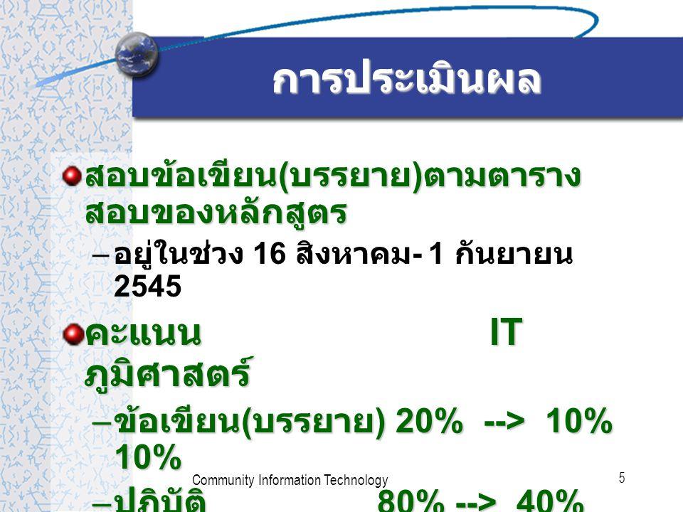 Community Information Technology 5 สอบข้อเขียน ( บรรยาย ) ตามตาราง สอบของหลักสูตร – อยู่ในช่วง 16 สิงหาคม - 1 กันยายน 2545 คะแนน IT ภูมิศาสตร์ – ข้อเขียน ( บรรยาย ) 20% --> 10% 10% – ปฏิบัติ 80% --> 40% 40% การประเมินผล