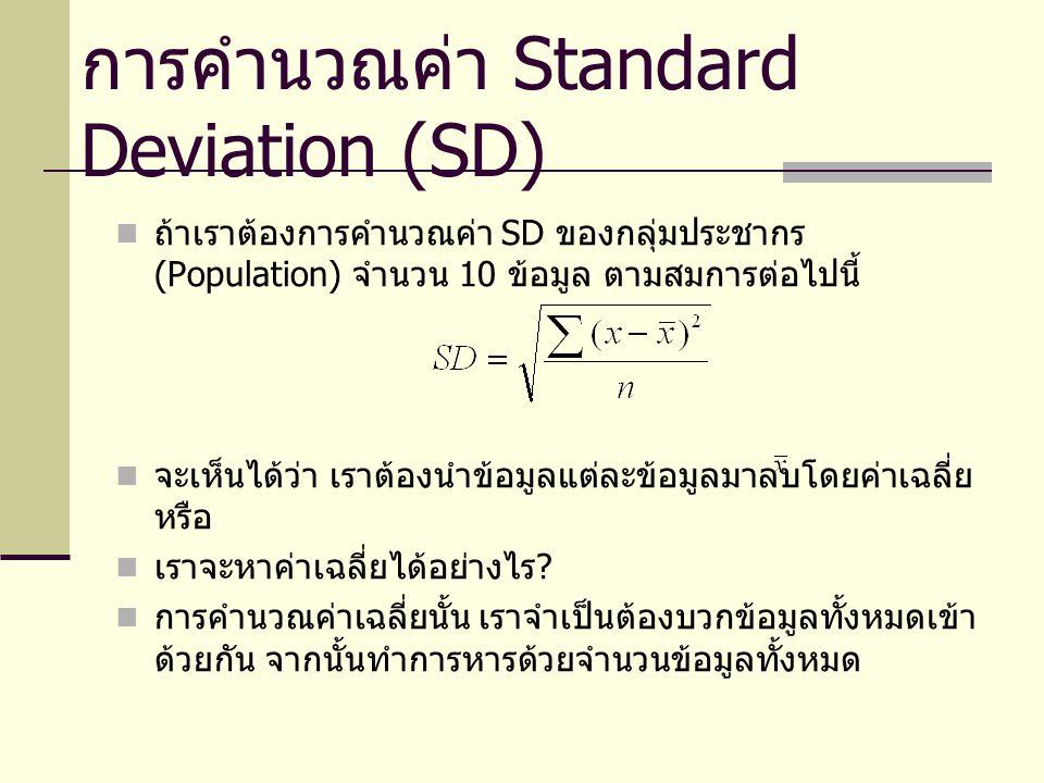 การคำนวณค่า Standard Deviation (SD) ถ้าเราต้องการคำนวณค่า SD ของกลุ่มประชากร (Population) จำนวน 10 ข้อมูล ตามสมการต่อไปนี้ จะเห็นได้ว่า เราต้องนำข้อมู