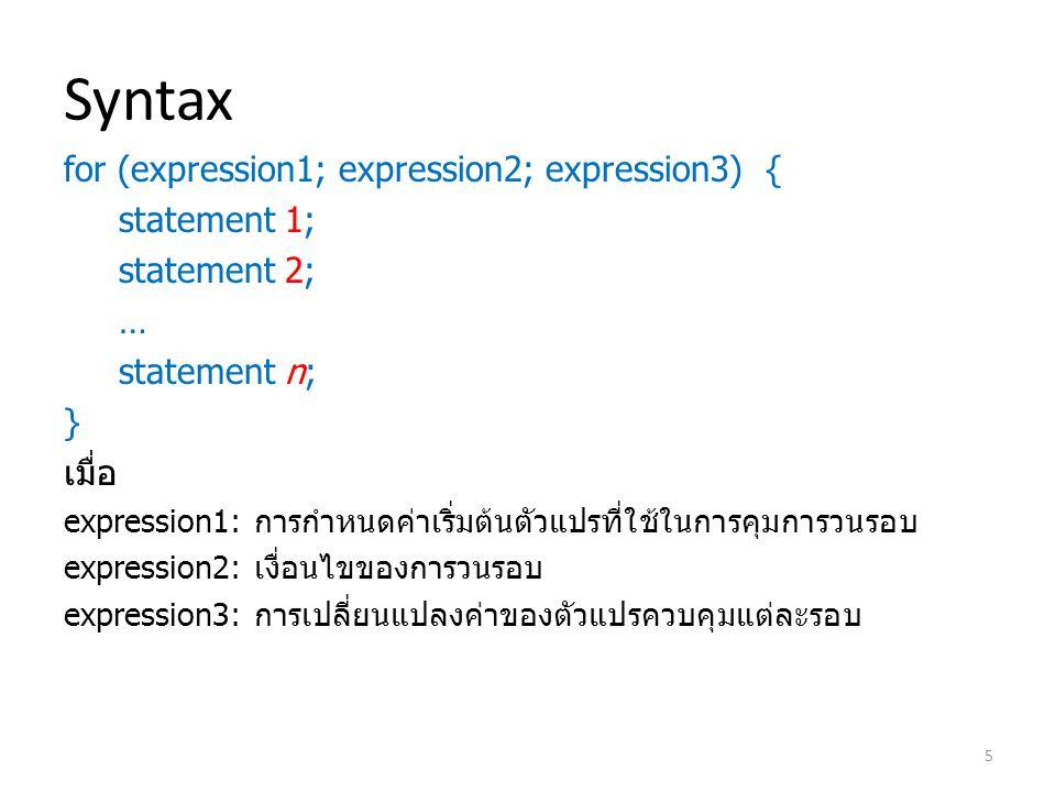 Syntax for (expression1; expression2; expression3) { statement 1; statement 2; … statement n; } เมื่อ expression1: การกำหนดค่าเริ่มต้นตัวแปรที่ใช้ในการคุมการวนรอบ expression2: เงื่อนไขของการวนรอบ expression3: การเปลี่ยนแปลงค่าของตัวแปรควบคุมแต่ละรอบ 5