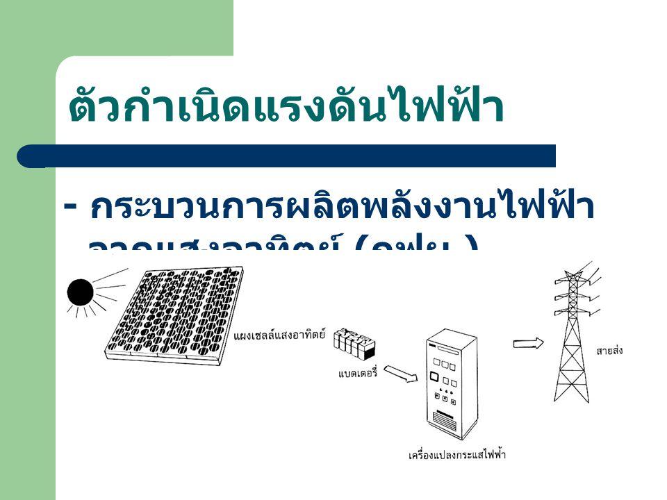 ตัวกำเนิดแรงดันไฟฟ้า - กระบวนการผลิตพลังงานไฟฟ้า จากแสงอาทิตย์ ( กฟผ.)