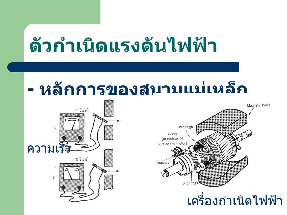 ตัวกำเนิดแรงดันไฟฟ้า - หลักการของสนามแม่เหล็ก ความเร็ว เครื่องกำเนิดไฟฟ้า