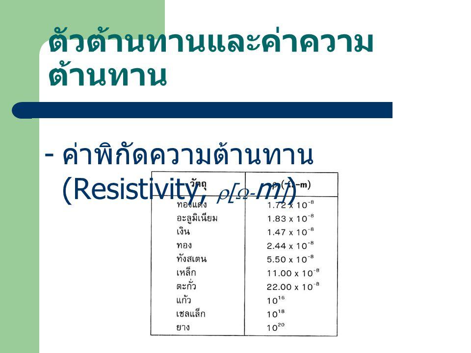 ตัวต้านทานและค่าความ ต้านทาน - ค่าพิกัดความต้านทาน (Resistivity,  [  - m ] )