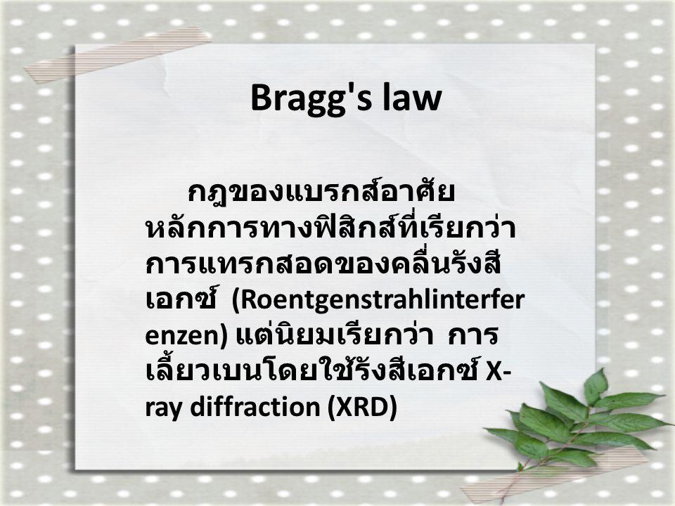 Bragg's law กฎของแบรกส์อาศัย หลักการทางฟิสิกส์ที่เรียกว่า การแทรกสอดของคลื่นรังสี เอกซ์ (Roentgenstrahlinterfer enzen) แต่นิยมเรียกว่า การ เลี้ยวเบนโด