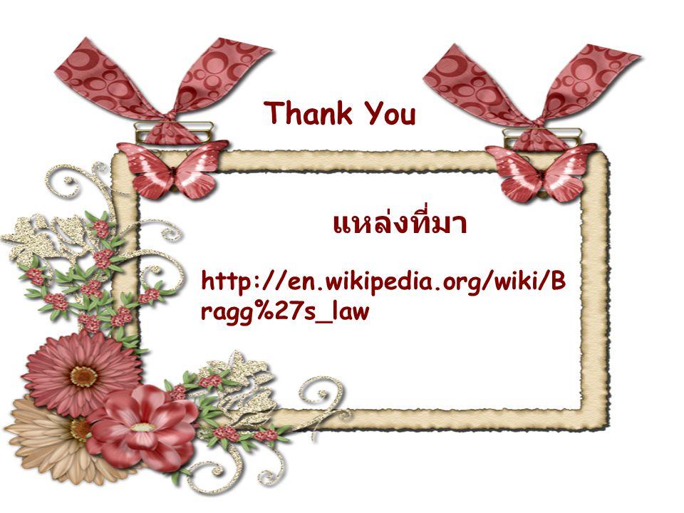แหล่งที่มา http://en.wikipedia.org/wiki/B ragg%27s_law Thank You