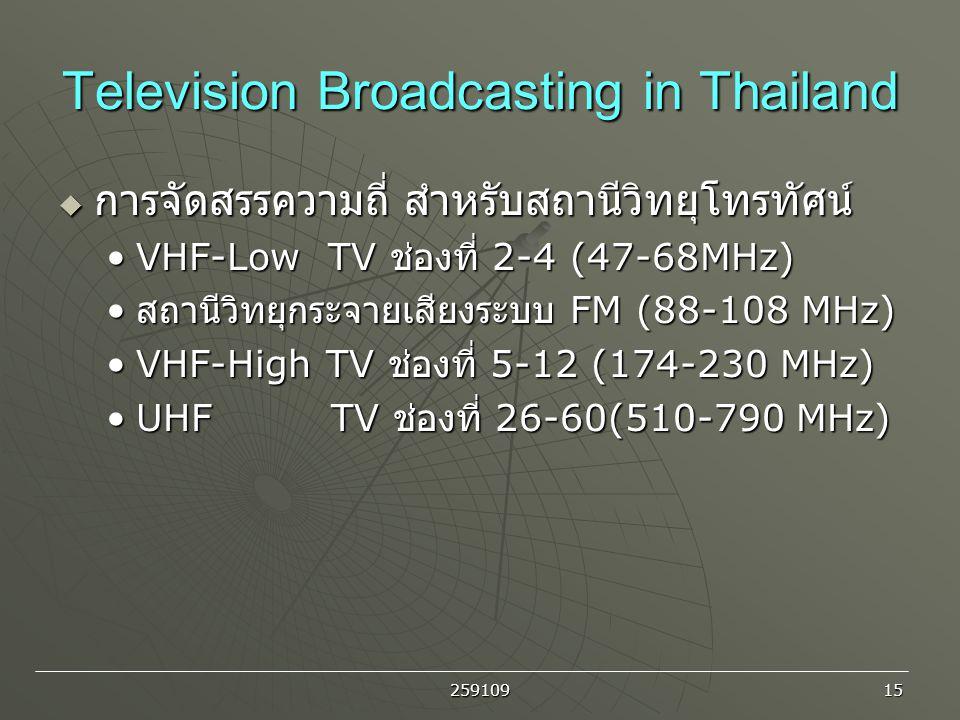 259109 15 Television Broadcasting in Thailand  การจัดสรรความถี่ สำหรับสถานีวิทยุโทรทัศน์ VHF-Low TV ช่องที่ 2-4 (47-68MHz)VHF-Low TV ช่องที่ 2-4 (47-