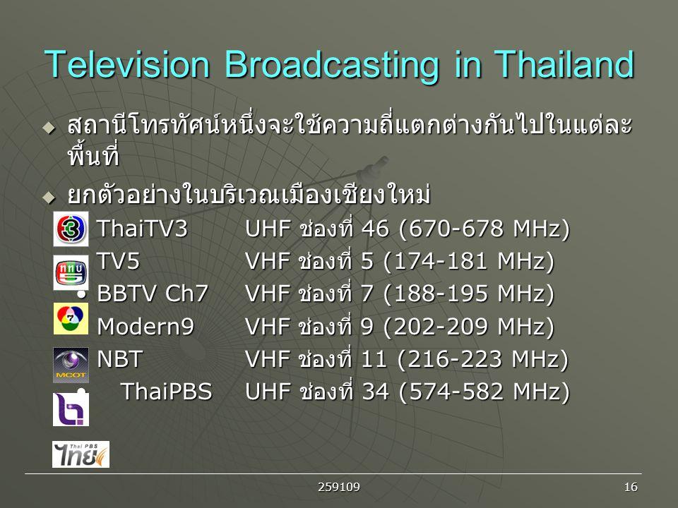 259109 16 Television Broadcasting in Thailand  สถานีโทรทัศน์หนึ่งจะใช้ความถี่แตกต่างกันไปในแต่ละ พื้นที่  ยกตัวอย่างในบริเวณเมืองเชียงใหม่ ThaiTV3 U