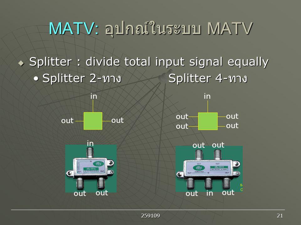 259109 21 MATV: อุปกณ์ในระบบ MATV  Splitter : divide total input signal equally Splitter 2- ทาง Splitter 4- ทางSplitter 2- ทาง Splitter 4- ทาง in out