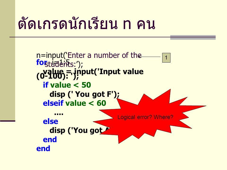 ตัดเกรดนักเรียนจนกว่าจะครบ จำนวน ถ้าเราไม่รู้จำนวนของการทำซ้ำ เราต้องใช้คำสั่ง while-do ทบทวน while-do i=1; while i<=5 disp('Programming is fun'); i++; end