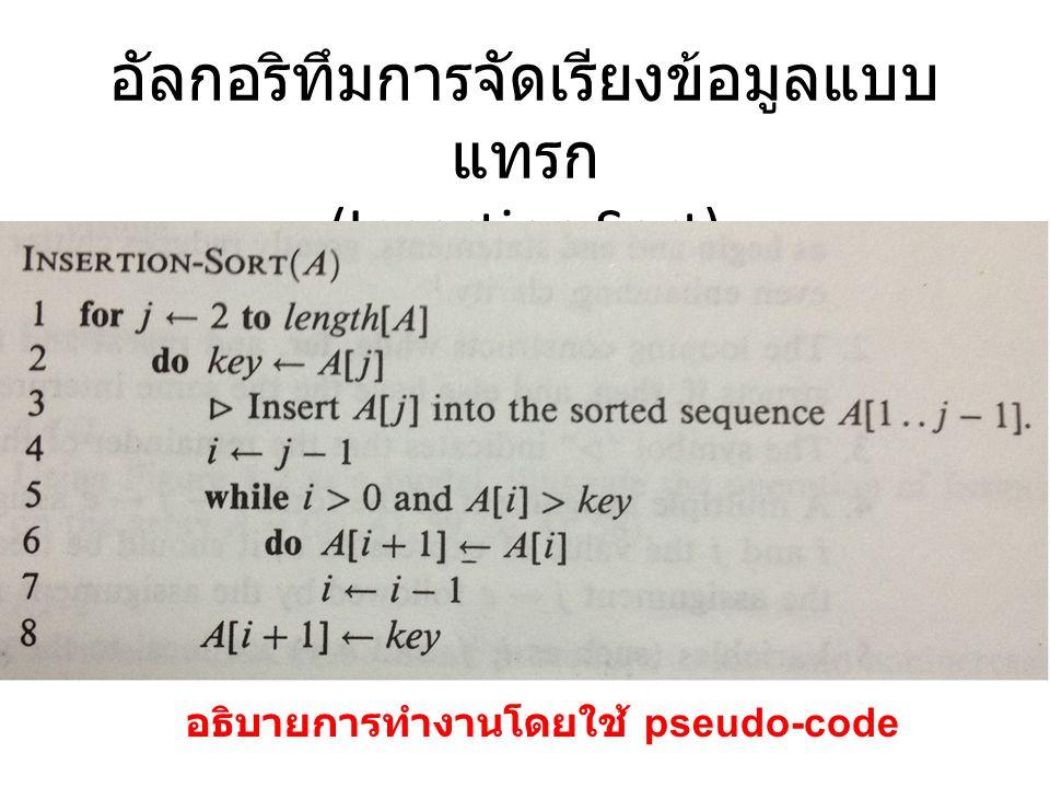 ตัวอย่างการทำงานของอัลกอริทึม การจัดเรียงแบบแทรก (Insertion Sort) 1,4,2,6,7 สมมติว่ามีตัวเลขอยู่ห้าตัวที่ต้องการจะจัดเรียงจากน้อยไปมากโดย ใช้อัลกอริทึมจัดเรียงแบบแทรก