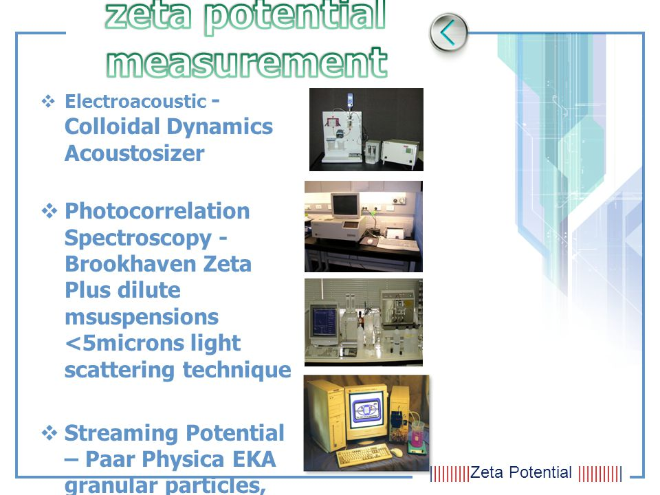  Electroacoustic - Colloidal Dynamics Acoustosizer  Photocorrelation Spectroscopy - Brookhaven Zeta Plus dilute msuspensions <5microns light scatter
