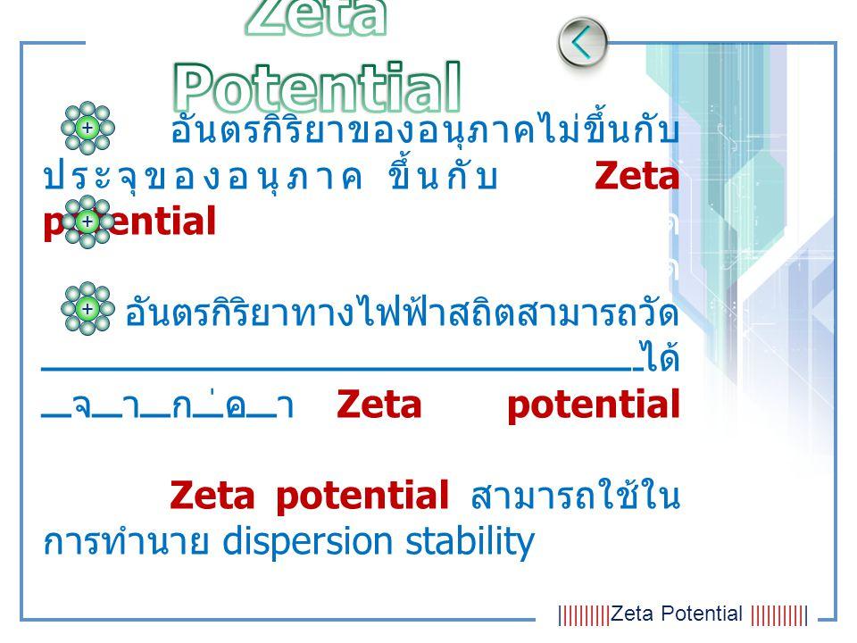 มีเสถียรภาพการกระจายตัวไม่มีเสถียรภาพการกระจายตัว ζ ≥ +40 mV / ζ ≤-40 mV-40 mV ≤ ζ ≤ +40mV อนุภาคมีค่า Zeta Potential เป็นบวกหรือลบมากๆ เกิดการหักล้างต่อกัน เกิดเสถียรภาพการ กระจายตัว อนุภาคมีค่า Zeta Potential เป็นบวกหรือลบน้อยๆ ไม่มี แรงป้องกันอนุภาคอื่นที่เข้ามา ไม่เกิดเสถียรภาพการ กระจายตัวหรือเกิดการรวมกัน (AGGREGATION) ++           Zeta Potential            