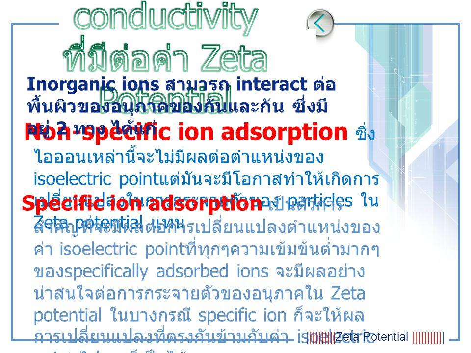 Non-specific ion adsorption ซึ่ง ไอออนเหล่านี้จะไม่มีผลต่อตำแหน่งของ isoelectric point แต่มันจะมีโอกาสทำให้เกิดการ เปลี่ยนแปลงในการกระจายตัวของ partic