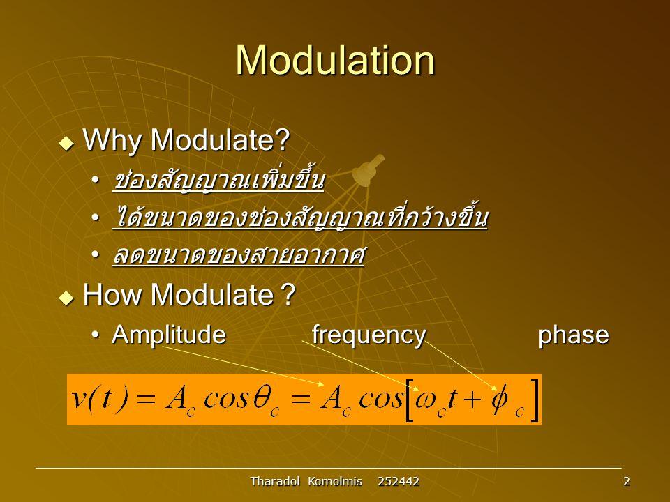 Tharadol Komolmis 252442 3 การมอดูเลตเชิงเส้น : DSB-LC  การมอดูเลตเชิงเส้น รูปที่ 3.1 รูปสัญญาณทางเวลาและทางความถี่ของ สัญญาณที่มอดูเลต x c (t)= A c cos  c t x(t)cos  c t  cos  c t Multiplie r x(t) Antenn a x(t) t t t  X(  ) Xc()Xc()   -W 0 W AmAm A m /2 cc  c 0 cc 0 F{x(t)cos  c t} 2W Upper Sideban d Lower Sideban d