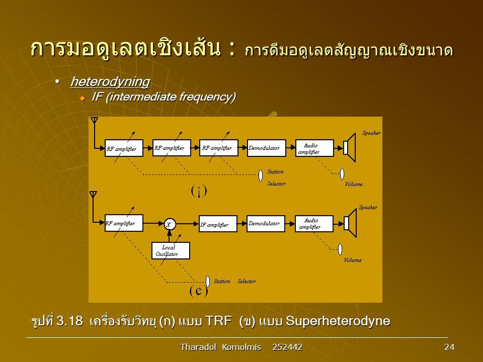 Tharadol Komolmis 252442 24 การมอดูเลตเชิงเส้น : การดีมอดูเลตสัญญาณเชิงขนาด heterodyningheterodyning  IF (intermediate frequency) รูปที่ 3.18 เครื่องรับวิทยุ (ก) แบบ TRF (ข) แบบ Superheterodyne