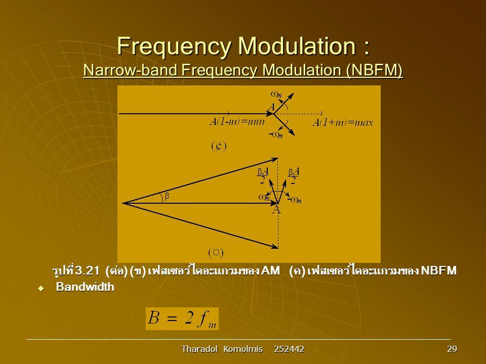 Tharadol Komolmis 252442 29 Frequency Modulation : Narrow-band Frequency Modulation (NBFM) รูปที่ 3.21 (ต่อ) (ข) เฟสเซอร์ไดอะแกรมของ AM (ค) เฟสเซอร์ไดอะแกรมของ NBFM  Bandwidth