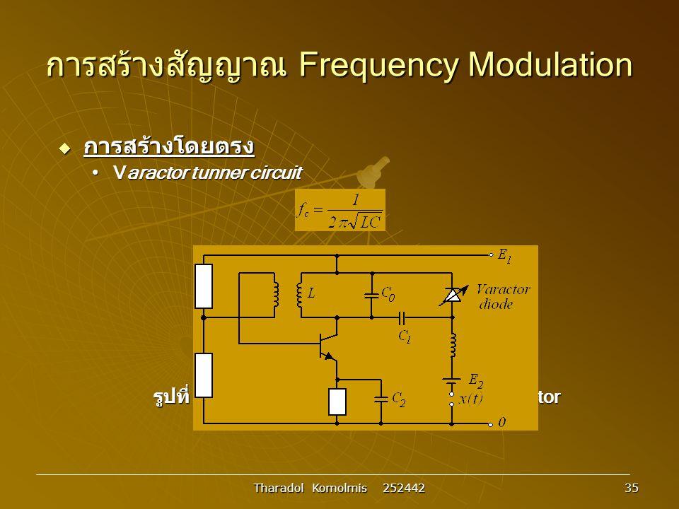 Tharadol Komolmis 252442 35 การสร้างสัญญาณ Frequency Modulation  การสร้างโดยตรง Varactor tunner circuitVaractor tunner circuit รูปที่ 3.26 วงจรสร้างความถี่พาหะโดยใช้ varactor