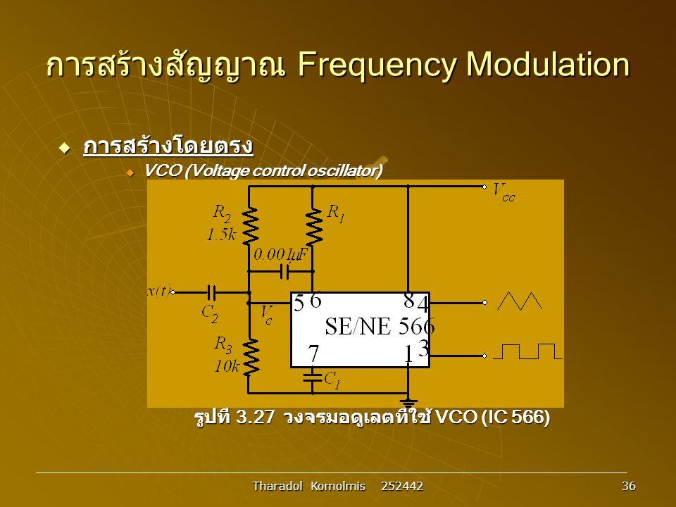Tharadol Komolmis 252442 36 การสร้างสัญญาณ Frequency Modulation  การสร้างโดยตรง  VCO (Voltage control oscillator) รูปที่ 3.27 วงจรมอดูเลตที่ใช้ VCO (IC 566)