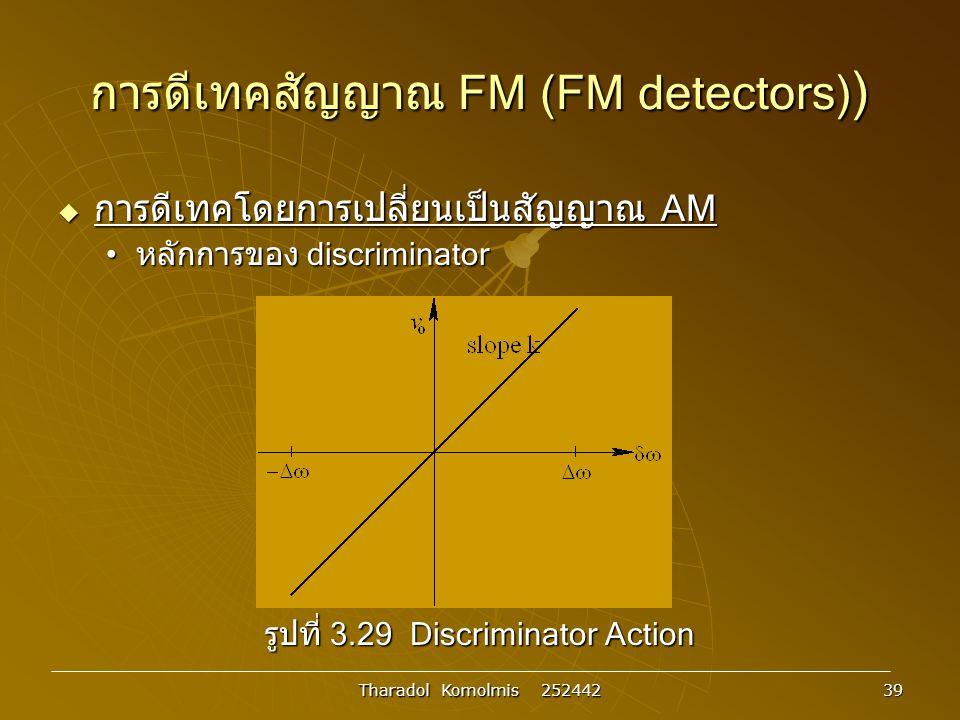 Tharadol Komolmis 252442 39 การดีเทคสัญญาณ FM (FM detectors) )  การดีเทคโดยการเปลี่ยนเป็นสัญญาณ AM หลักการของ discriminator หลักการของ discriminator รูปที่ 3.29 Discriminator Action