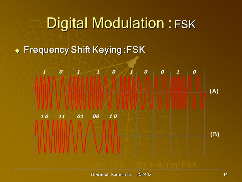 Tharadol Komolmis 252442 44 Digital Modulation : FSK  Frequency Shift Keying :FSK A) binary FSK B) 4-Array FSK (A) (B) 1 0 1 1 0 1 0 0 1 0