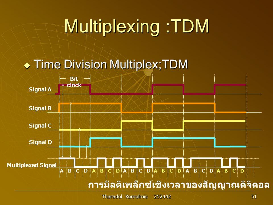 Tharadol Komolmis 252442 51 Multiplexing :TDM  Time Division Multiplex;TDM การมัลติเพล็กซ์เชิงเวลาของสัญญาณดิจิตอล Multiplexed Signal A B C D A B C D A B C D A B C D A B C D A B C D Signal D Signal C Signal B Signal A Bit clock