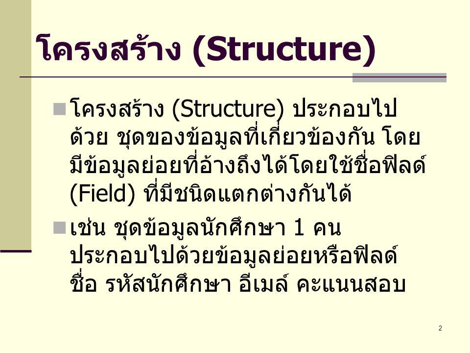 2 โครงสร้าง (Structure) โครงสร้าง (Structure) ประกอบไป ด้วย ชุดของข้อมูลที่เกี่ยวข้องกัน โดย มีข้อมูลย่อยที่อ้างถึงได้โดยใช้ชื่อฟิลด์ (Field) ที่มีชนิดแตกต่างกันได้ เช่น ชุดข้อมูลนักศึกษา 1 คน ประกอบไปด้วยข้อมูลย่อยหรือฟิลด์ ชื่อ รหัสนักศึกษา อีเมล์ คะแนนสอบ