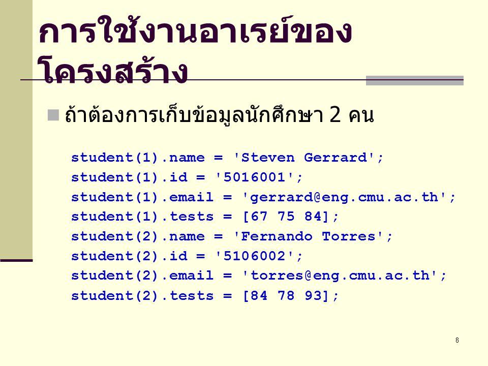 8 การใช้งานอาเรย์ของ โครงสร้าง ถ้าต้องการเก็บข้อมูลนักศึกษา 2 คน student(1).name = Steven Gerrard ; student(1).id = 5016001 ; student(1).email = gerrard@eng.cmu.ac.th ; student(1).tests = [67 75 84]; student(2).name = Fernando Torres ; student(2).id = 5106002 ; student(2).email = torres@eng.cmu.ac.th ; student(2).tests = [84 78 93];