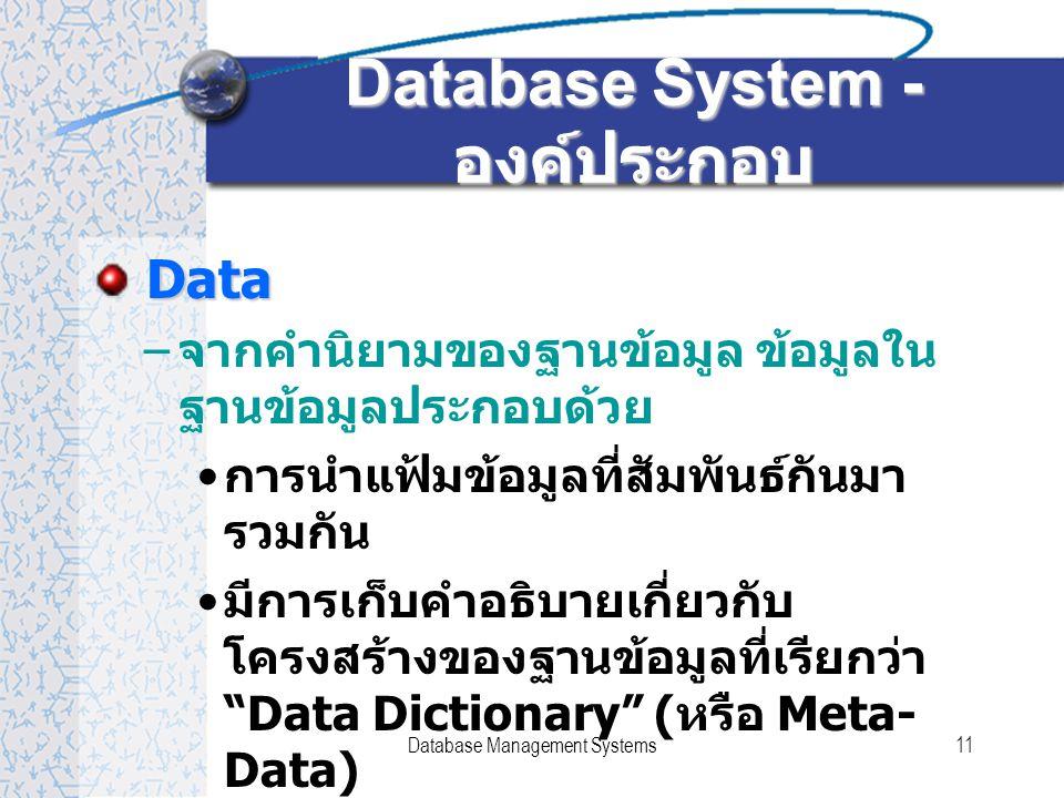 Database Management Systems11 Database System - องค์ประกอบ Data Data – จากคำนิยามของฐานข้อมูล ข้อมูลใน ฐานข้อมูลประกอบด้วย การนำแฟ้มข้อมูลที่สัมพันธ์กันมา รวมกัน มีการเก็บคำอธิบายเกี่ยวกับ โครงสร้างของฐานข้อมูลที่เรียกว่า Data Dictionary ( หรือ Meta- Data)
