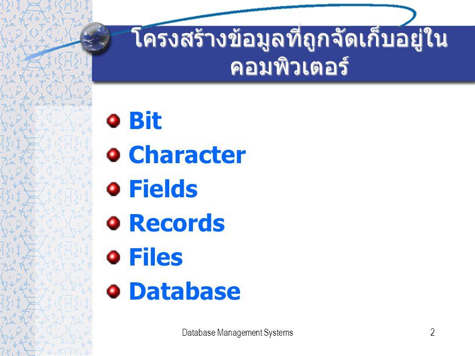 Database Management Systems3 Bit & Character Bit –Binary Digit (0,1) Character – เช่น A,B,C,1,2, ก, ข, ค,*,/ เป็นต้น – เกิดจากการรวมตัวกันของ bit 7 bits หรือ 8 bits ขึ้นกับมาตรฐานที่ใช้ว่าเป็นชนิดใด – มีตารางกำหนดรหัส เช่น A = 100 0001
