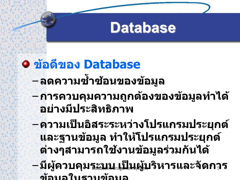 Database Management Systems10 Database System - องค์ประกอบ Database System ประกอบด้วย –Data –Hardware –Software - DBMS