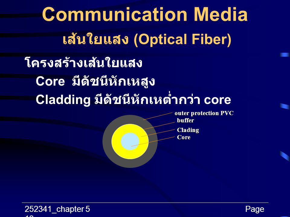 252341_chapter 5Page 13 Communication Media เส้นใยแสง (Optical Fiber) โครงสร้างเส้นใยแสง Core มีดัชนีหักเหสูง Cladding มีดัชนีหักเหต่ำกว่า core outer