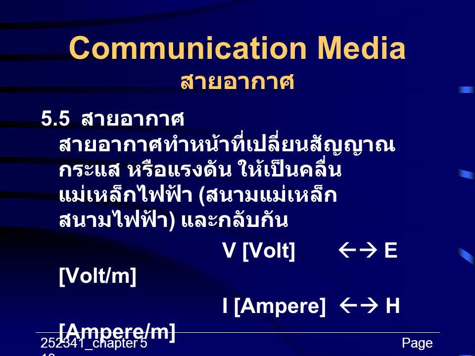 252341_chapter 5Page 18 Communication Media สายอากาศ 5.5 สายอากาศ สายอากาศทำหน้าที่เปลี่ยนสัญญาณ กระแส หรือแรงดัน ให้เป็นคลื่น แม่เหล็กไฟฟ้า ( สนามแม่
