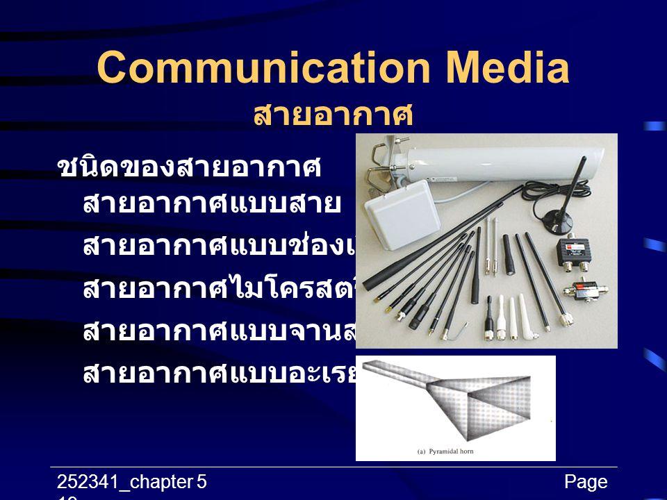 252341_chapter 5Page 19 Communication Media สายอากาศ ชนิดของสายอากาศ สายอากาศแบบสาย สายอากาศแบบช่องเปิด สายอากาศไมโครสตริป สายอากาศแบบจานสะท้อน สายอาก