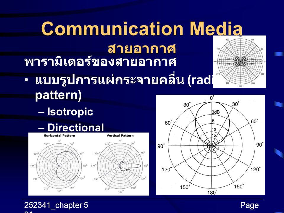 252341_chapter 5Page 21 Communication Media สายอากาศ พารามิเตอร์ของสายอากาศ แบบรูปการแผ่กระจายคลื่น (radiation pattern) –Isotropic –Directional –Omni-