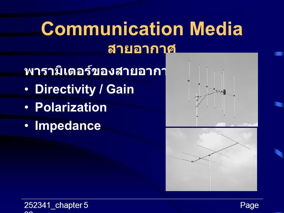 252341_chapter 5Page 22 Communication Media สายอากาศ พารามิเตอร์ของสายอากาศ Directivity / Gain Polarization Impedance