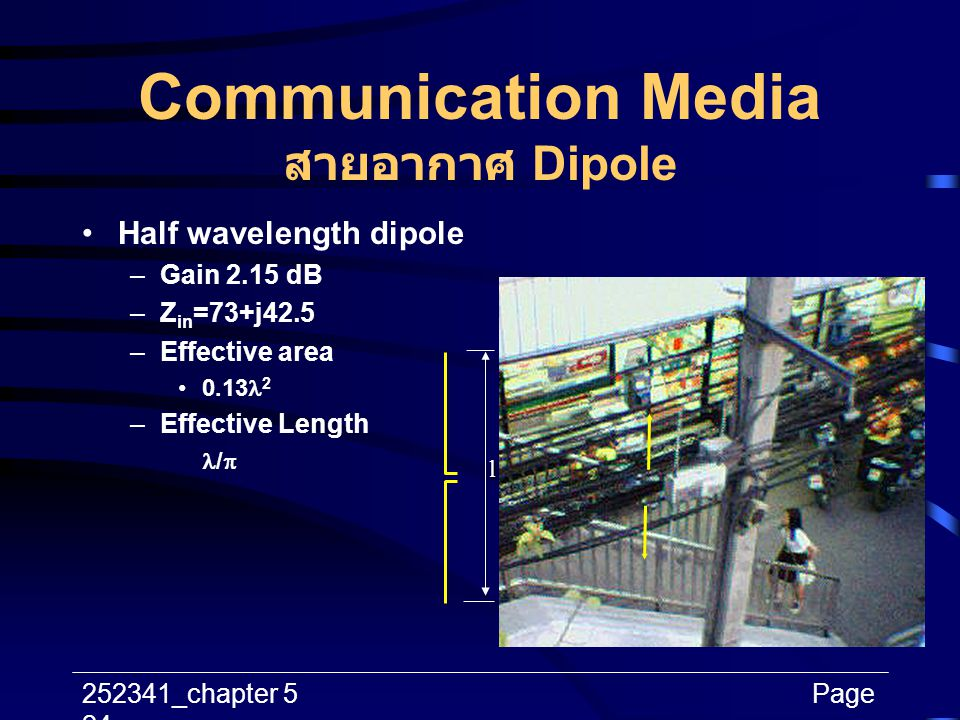 252341_chapter 5Page 24 Communication Media สายอากาศ Dipole l Half wavelength dipole –Gain 2.15 dB –Z in =73+j42.5 –Effective area 0.13 2 –Effective L
