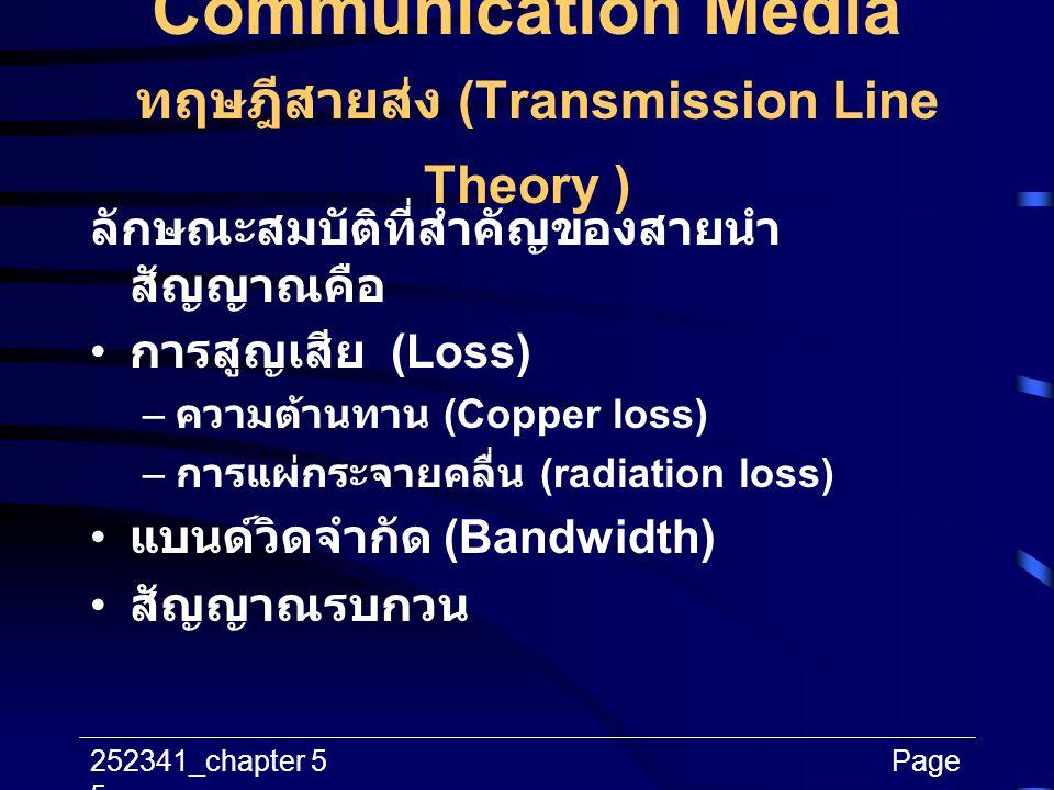 252341_chapter 5Page 5 Communication Media ทฤษฎีสายส่ง (Transmission Line Theory ) ลักษณะสมบัติที่สำคัญของสายนำ สัญญาณคือ การสูญเสีย (Loss) – ความต้าน