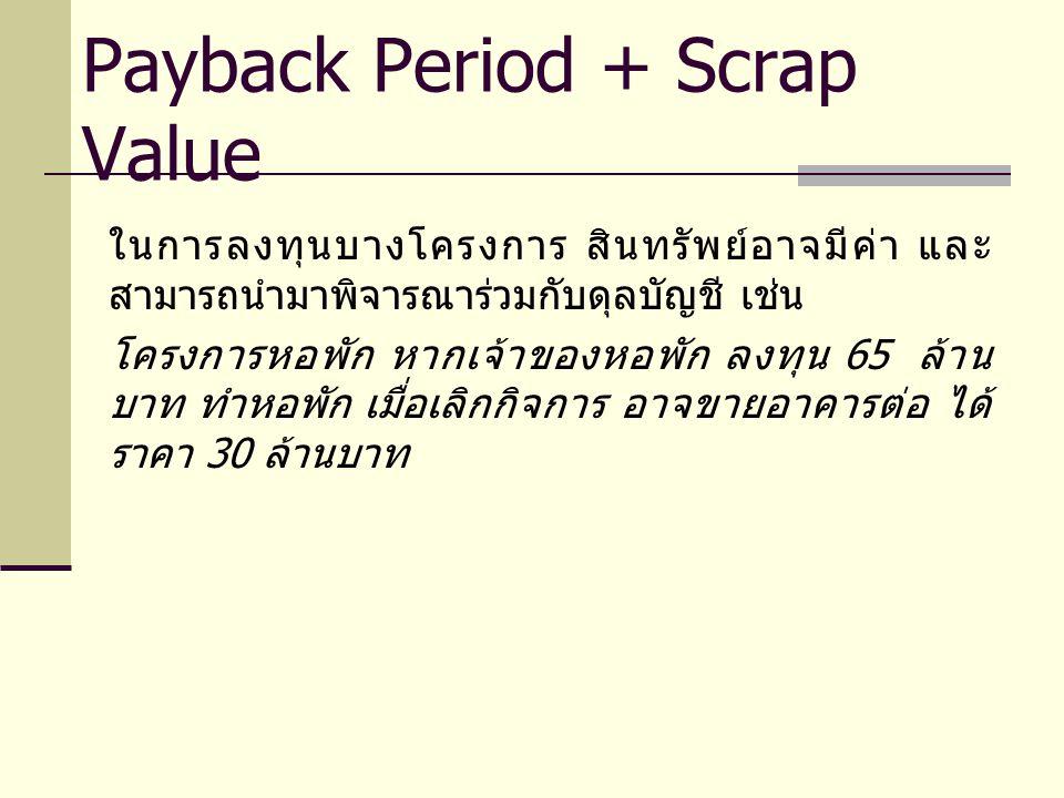 ในการลงทุนบางโครงการ สินทรัพย์อาจมีค่า และ สามารถนำมาพิจารณาร่วมกับดุลบัญชี เช่น โครงการหอพัก หากเจ้าของหอพัก ลงทุน 65 ล้าน บาท ทำหอพัก เมื่อเลิกกิจการ อาจขายอาคารต่อ ได้ ราคา 30 ล้านบาท Payback Period + Scrap Value