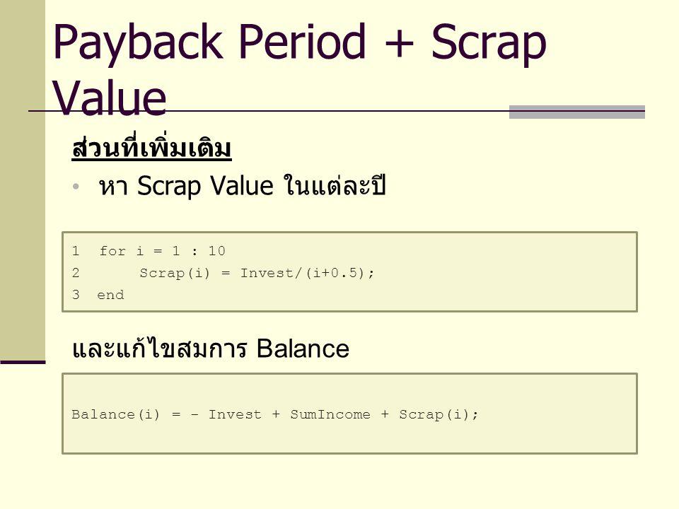 ส่วนที่เพิ่มเติม หา Scrap Value ในแต่ละปี 1 for i = 1 : 10 2Scrap(i) = Invest/(i+0.5); 3end และแก้ไขสมการ Balance Balance(i) = - Invest + SumIncome +