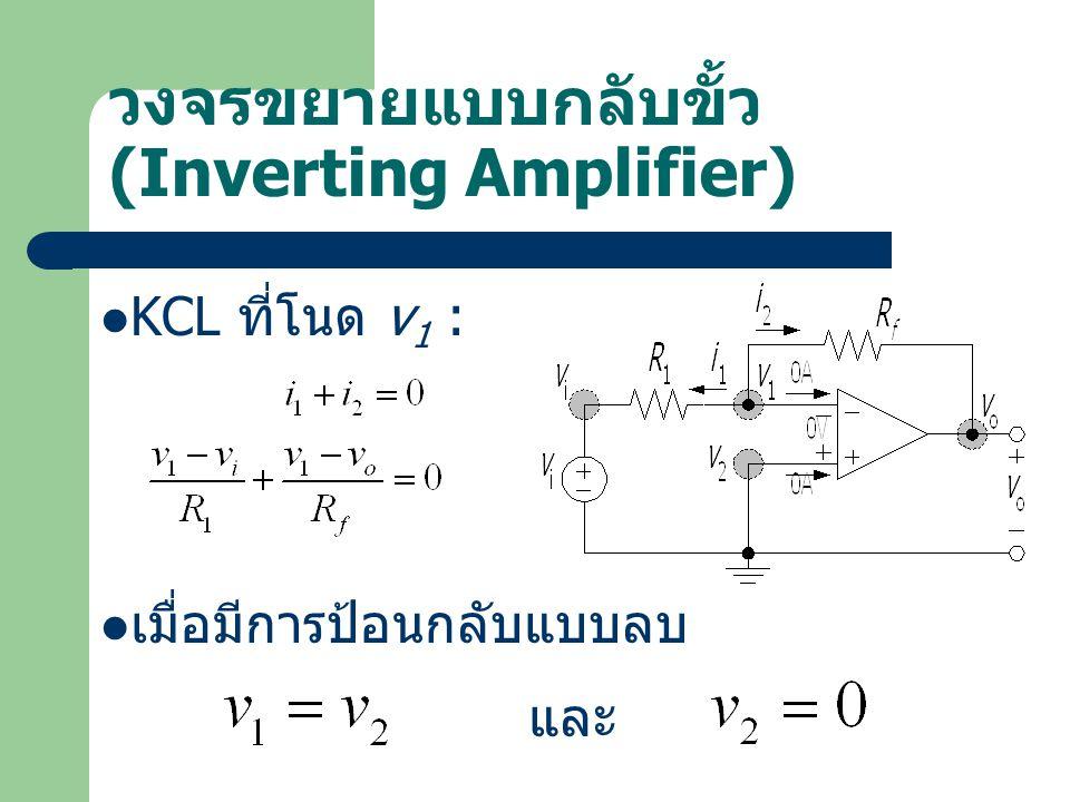 วงจรขยายแบบกลับขั้ว (Inverting Amplifier) KCL ที่โนด v 1 : เมื่อมีการป้อนกลับแบบลบ และ