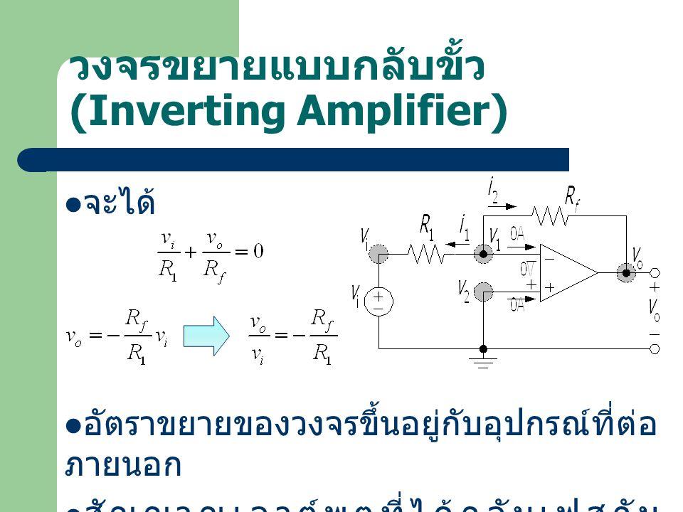 วงจรขยายแบบกลับขั้ว (Inverting Amplifier) จะได้ อัตราขยายของวงจรขึ้นอยู่กับอุปกรณ์ที่ต่อ ภายนอก สัญญาณเอาต์พุตที่ได้กลับเฟสกับ สัญญาณอินพุต