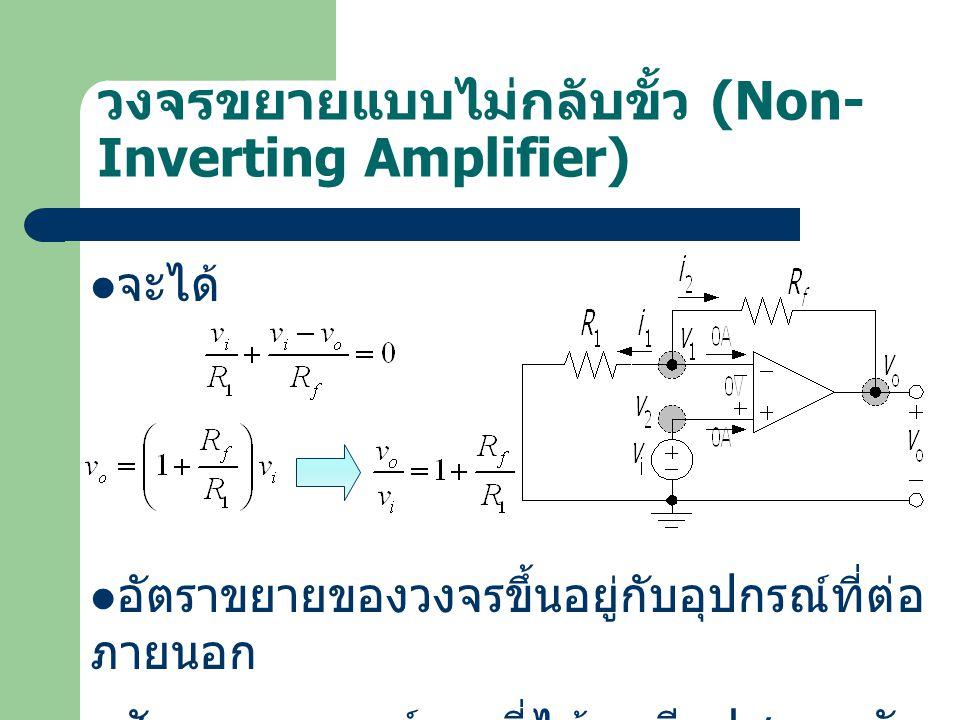 วงจรขยายแบบไม่กลับขั้ว (Non- Inverting Amplifier) จะได้ อัตราขยายของวงจรขึ้นอยู่กับอุปกรณ์ที่ต่อ ภายนอก สัญญาณเอาต์พุตที่ได้จะมีเฟสตรงกับ สัญญาณอินพุต