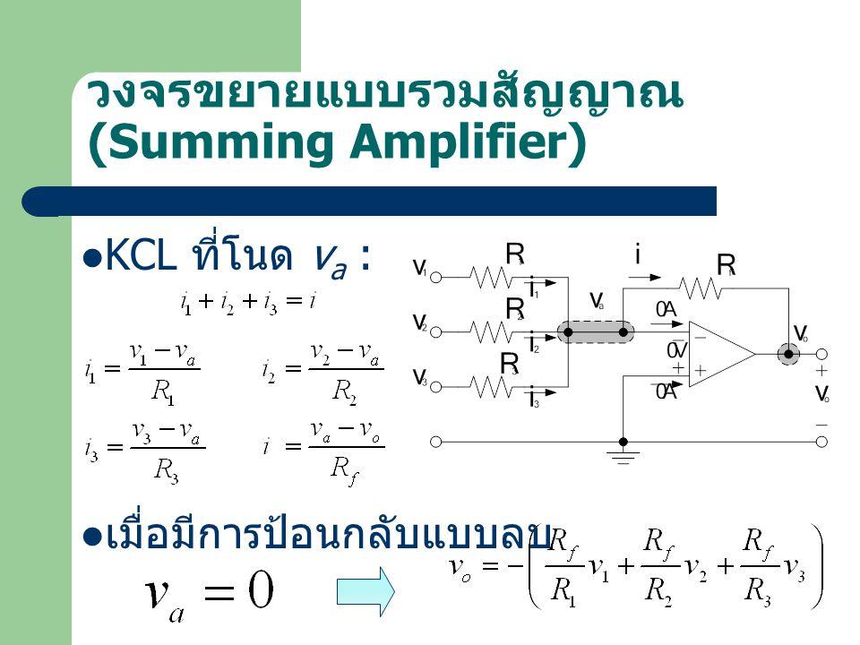 วงจรขยายแบบรวมสัญญาณ (Summing Amplifier) KCL ที่โนด v a : เมื่อมีการป้อนกลับแบบลบ