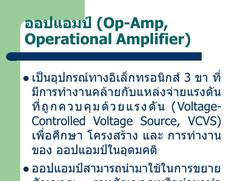 ออปแอมป์ (Op-Amp, Operational Amplifier) เป็นอุปกรณ์ทางอิเล็กทรอนิกส์ 3 ขา ที่ มีการทำงานคล้ายกับแหล่งจ่ายแรงดัน ที่ถูกควบคุมด้วยแรงดัน (Voltage- Cont