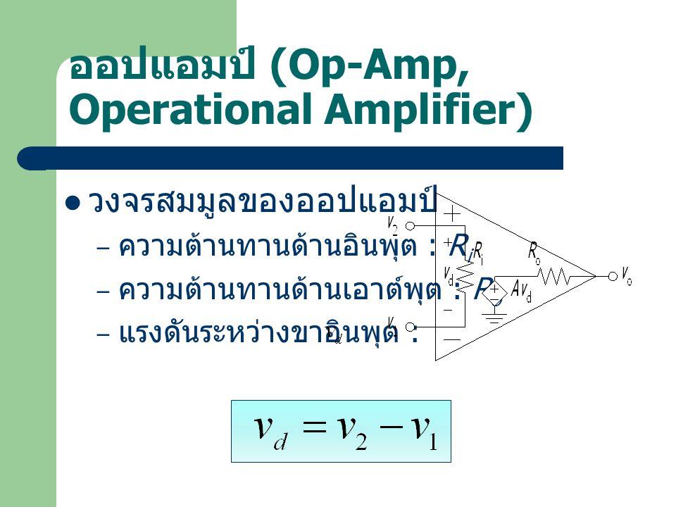 ออปแอมป์ (Op-Amp, Operational Amplifier) วงจรสมมูลของออปแอมป์ – ความต้านทานด้านอินพุต : R i – ความต้านทานด้านเอาต์พุต : R o – แรงดันระหว่างขาอินพุต :