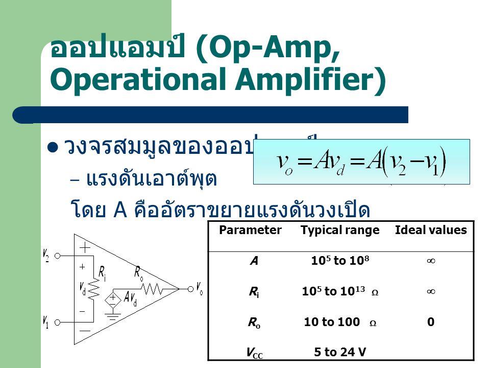 ออปแอมป์ (Op-Amp, Operational Amplifier) วงจรสมมูลของออปแอมป์ – แรงดันเอาต์พุต โดย A คืออัตราขยายแรงดันวงเปิด ParameterTypical rangeIdeal values A10 5