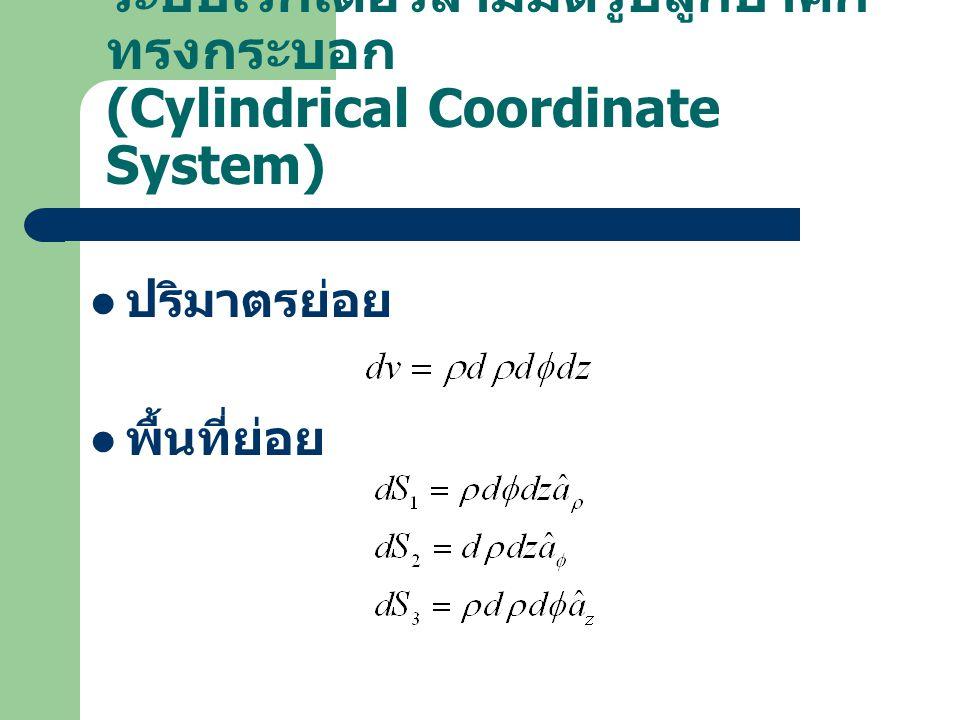 ระบบเวกเตอร์สามมิติรูปลูกบาศก์ ทรงกระบอก (Cylindrical Coordinate System) ปริมาตรย่อย พื้นที่ย่อย