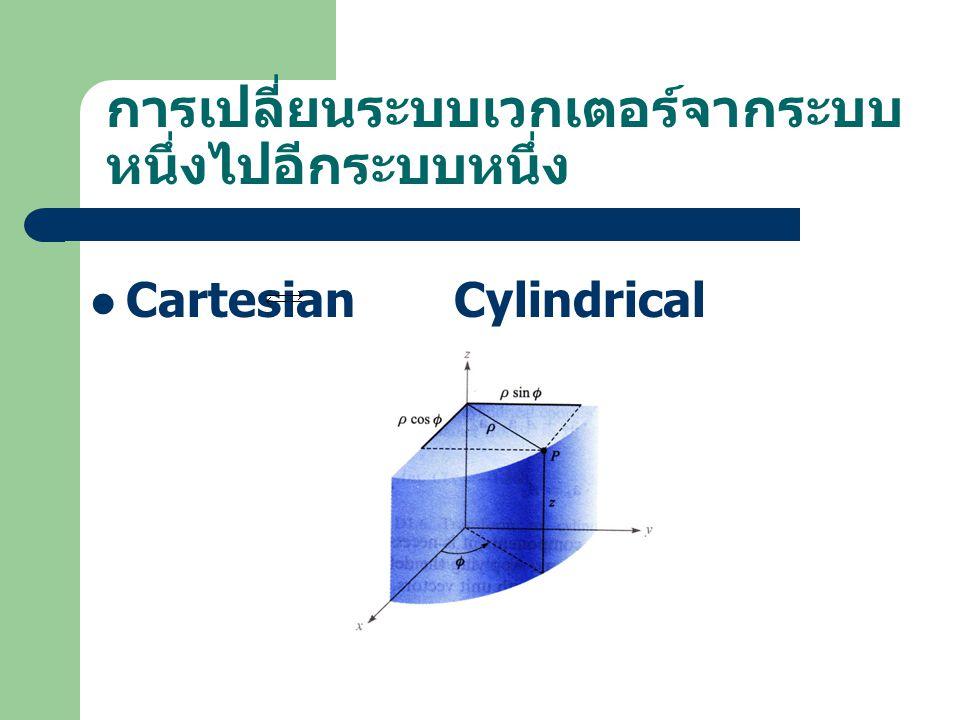 การเปลี่ยนระบบเวกเตอร์จากระบบ หนึ่งไปอีกระบบหนึ่ง Cartesian Cylindrical